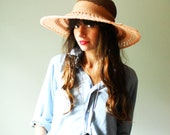 summer straw hat. large brim derby hat. hand crochet bamboo silk and organic hemp. peach rose and earth. large wire brim.