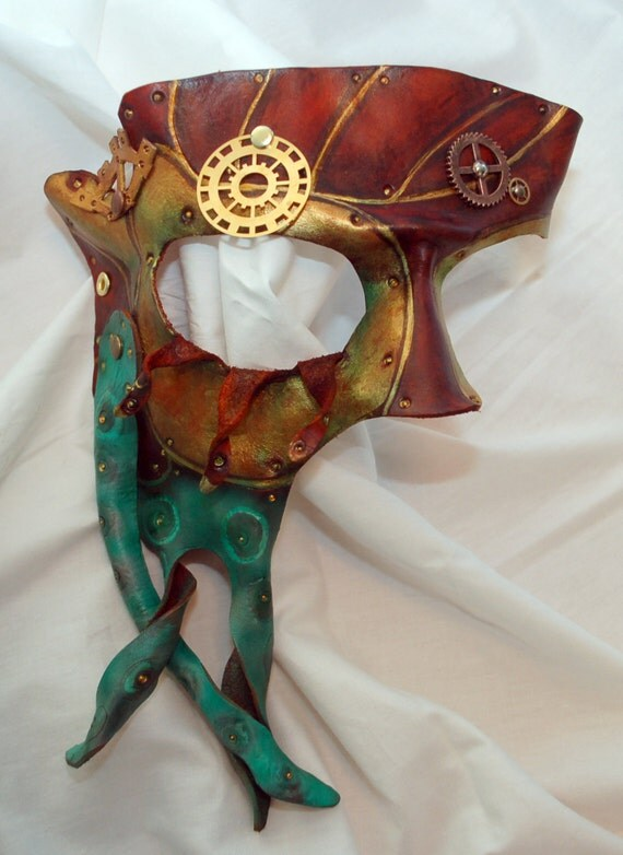 Reserved Listing for Blarz -- Steampunk Cthulu Leather Cosplay Half Mask