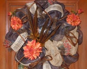 Chocolate Brown and Burlap Deco Mesh Wreath