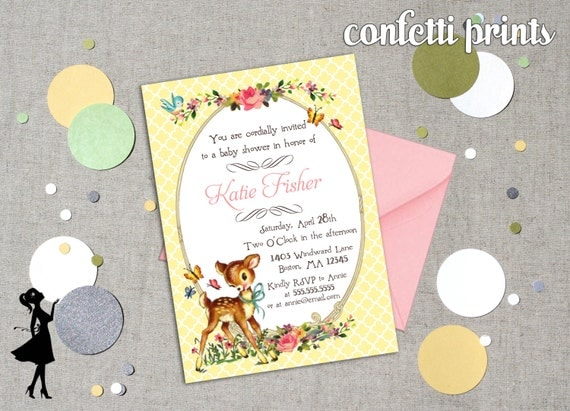 Vintage Baby Shower Invitation - FANCY FAWN Printable
