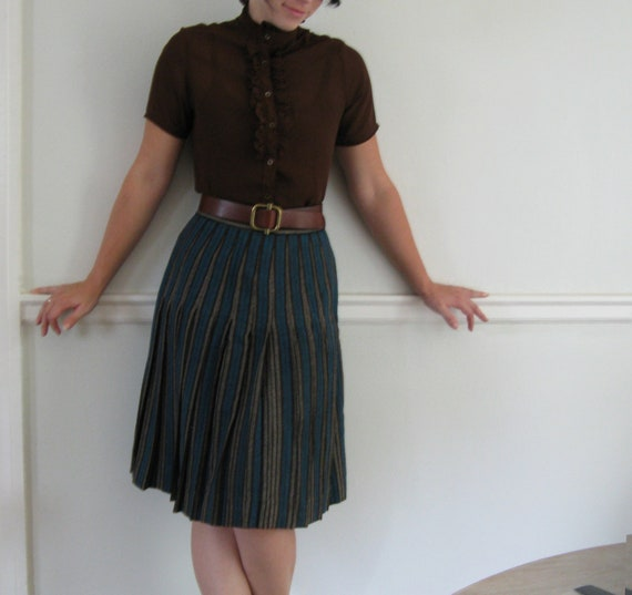 perfectly pleated skirt teal brown and grey by luckyleafshop