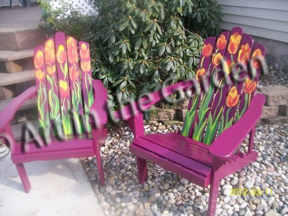 Beautiful Painted Adirondack Chairs with Bright Tulips