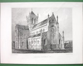 SCOTLAND Kirkwall St. Magnus Cathedral South East View - 1852 Antique Print