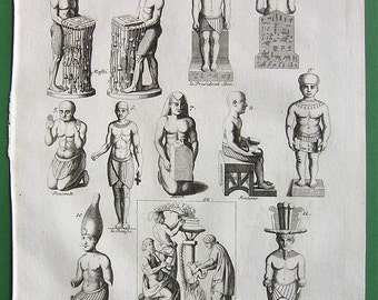 EGYPT Egyptian Priests Idols by Montfaucon - 1757 Vintage Antique Print