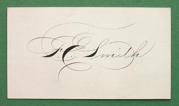 PENMANSHIP Calling Card Vinatge 1920s for FE Smith