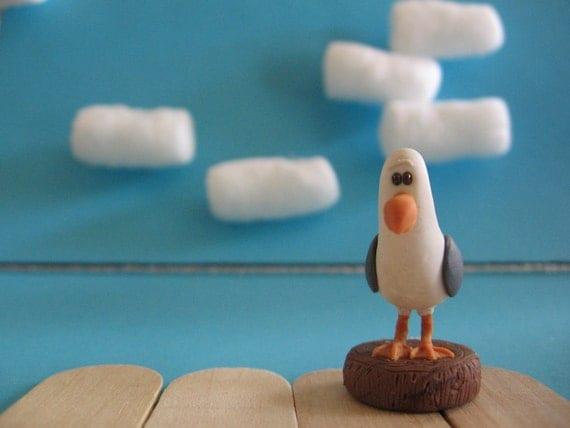 Hand Made, Polymer Clay, Seagull figurine