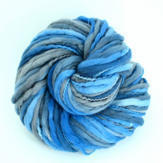 Hand Dyed Thick-n-Thin Merino Wool Yarn - Coastal