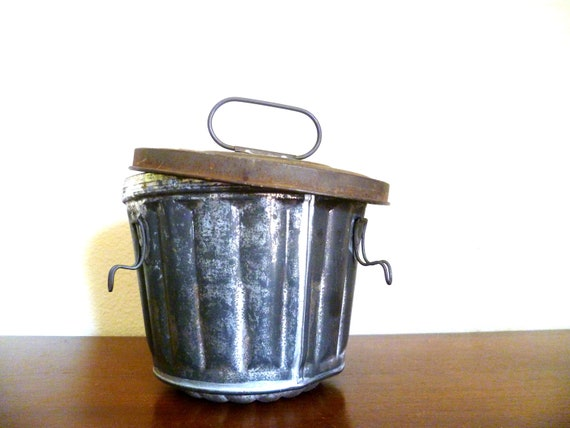 VINTAGE Tin Pudding Mold with Lid made in Germany