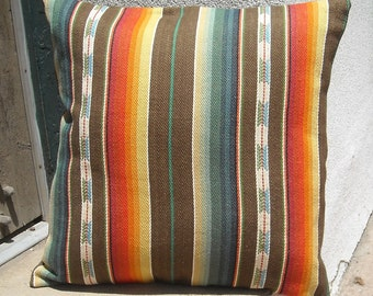 "Southwestern Pillow Cover 18"" x 18"", custom sizes available.  Woven serape design"