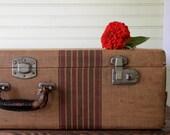 Vintage Luggage Suitcase Hardcover Paper Tan Beige Red Stripe 1940s