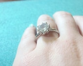 Sterling Solitare Ring-signed Uncas