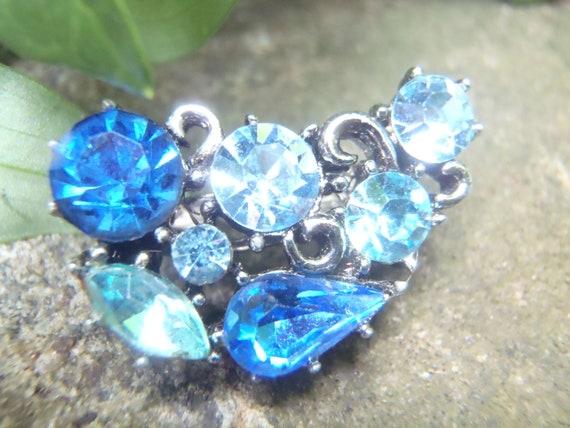 Blue Rhinestone Pin Pair Brooch-Bridal-Repurposed-Vintage