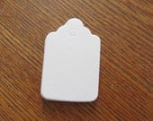 "50 Mini White Scalloped Tags - Classic - Blank - 1 1/2"" x 15/16"" Size - Plain - Cute - Small - Tiny 1"" - 1.5"" - Merchandise - Crafts"