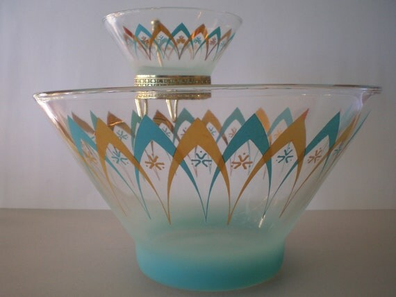 Atomic Chip and Dip Set 1960s Blendo Anchor Hocking Turquoise Gold Happy Hour
