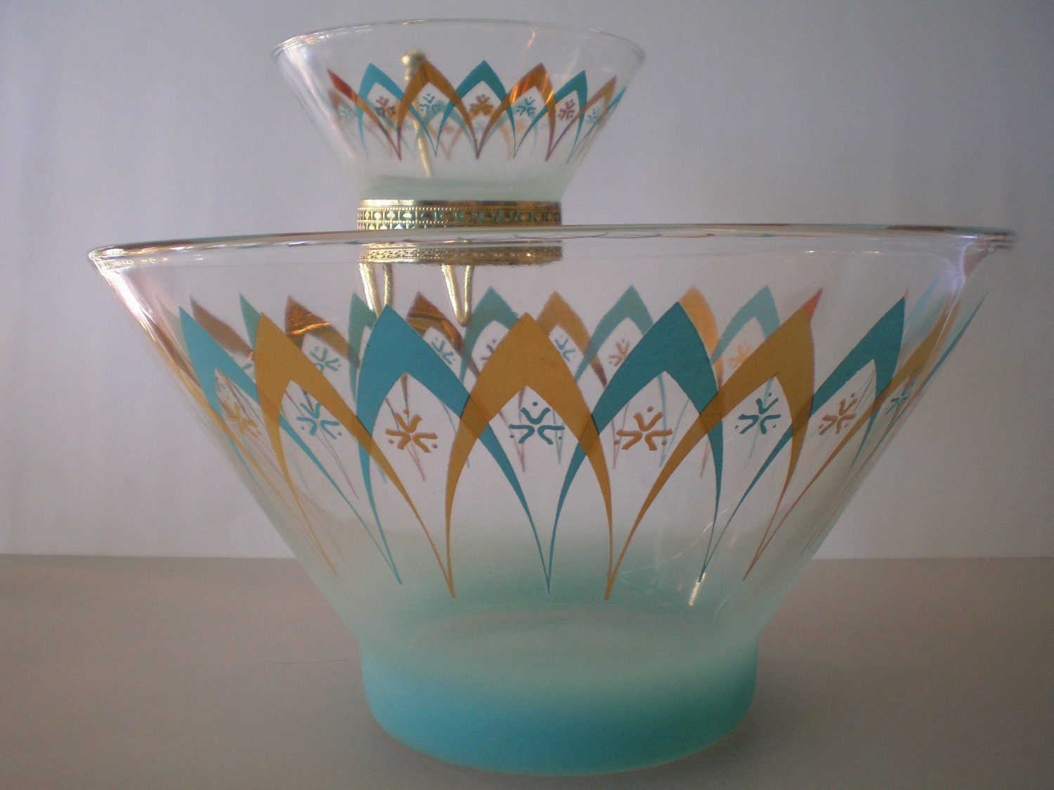 Atomic Chip And Dip Set 1960s Blendo Anchor Hocking Turquoise
