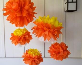 CANDY CORN SET / 5 Tissue Paper Poms / Halloween Decor / Fall Decor / Orange, Yellow & White Decor / Classroom Decor