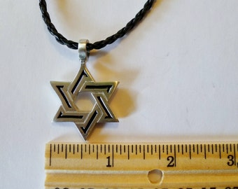 The Star of David  Fine Pewter  Silver Antiqued Pendant