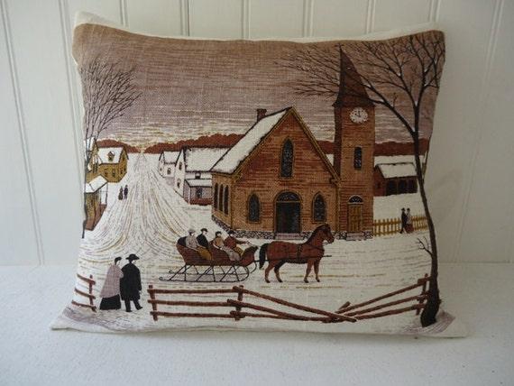 Handmade Linen Pillow, Repurposed Tea Towel, 1972