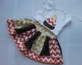 4t READY TO SHIP Chevron Halloween Skirt Set Candy Corn Skirt Candy Corn applique Top Girls Halloween Outfit Yellow Chevron