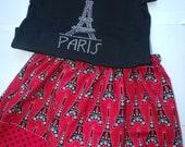 Girls Paris Eiffel Tower Chevron Skirt Set Paris Twirly Skirt Paris Rhinestone Shirt Girls Applique Paris Top  Back to School Outfit