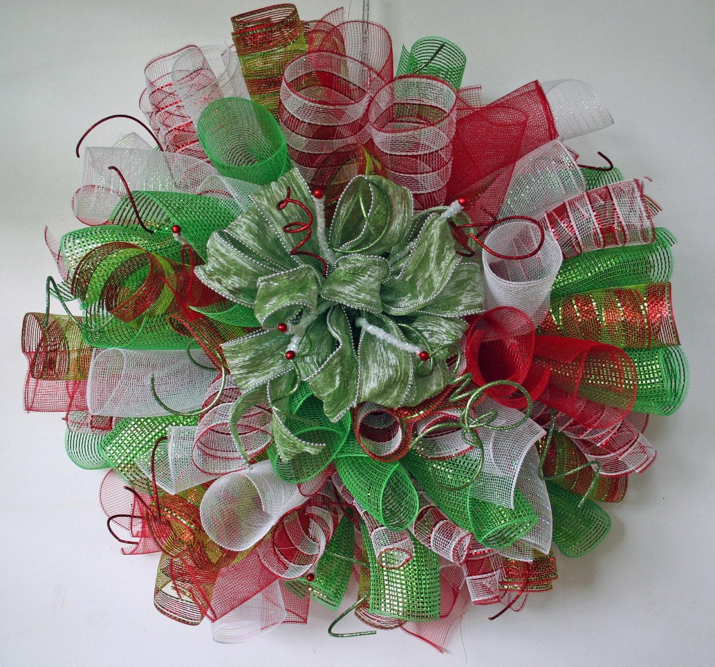 Christmas WreathCustom Spiral Mesh Christmas Wreath Custom