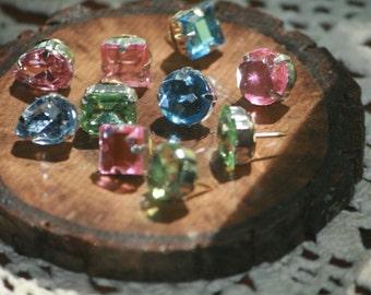 Thumbtacks Jeweled Thumbtacks Chic Thumb Tacks Jeweled Thumbtacks Push Pins Pushpins Birth Stones