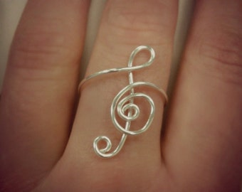 Musical Note-Treble Clef Ring- SALE