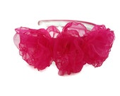 Flower Girl Fuschia Organza Flowers Atop Satin Headband H103b