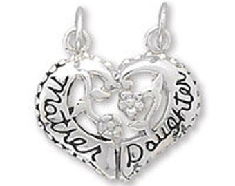 Mother and Daughter Charm//Sterling Silver  Heart shaped Mother AND Daughter Charms//One LOW price