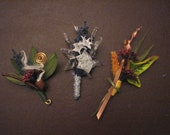 Custom Order for Brittany T. LOTR Lord of the Rings themed Wedding boutonniere set: Autumn in Lothlorien, Star of Elendil, Longbottom Leaf