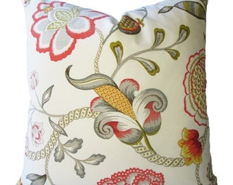 Decorative Designer Jacobean Floral Pillow Cover, Coral, Yellow, Grey, Chartreuse, Throw Pillow