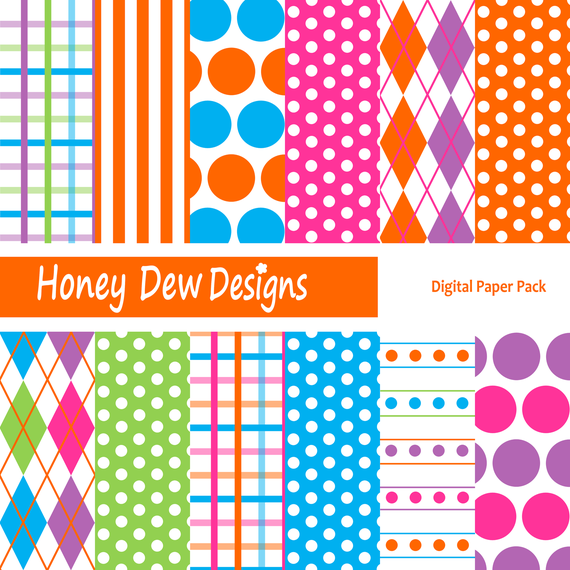 Instant Download - Digital Paper Pack 140 - Fun Colored Patterned Paper
