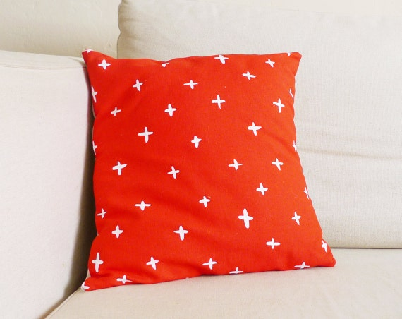 SALE - Poppy Red Plus Pillow - 13 x 13 in.