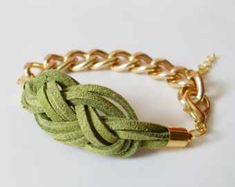 Mint Knot Chain Bracelet - Olive Green Suede Sailor Knot Bracelet with Gold Color Aluminum Chain - Rock and Cool
