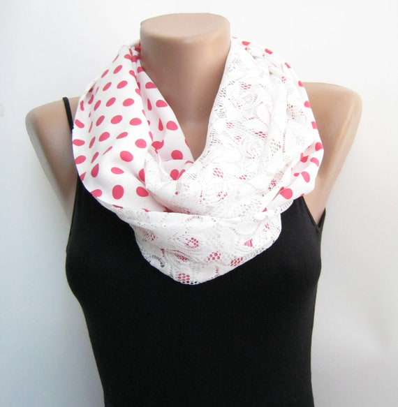 White lace polka dots infinity scarf