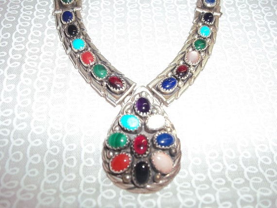 Sterling Silver Necklace, Bracelet, and Earrings Set with Semi-Precious Stones