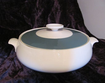 Homer Laughlin Covered Serving Dish Cavalier Teal White