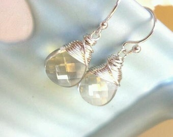 Silver Shade Swarovski Flat Briolette Clear Crystal  and Silver Wire Wrapped Earrings Petite Sized/Gift Under 25
