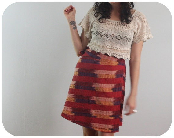 ETHNIC MINI Wrap Skirt - Woven Chevron - SALE - xs to med