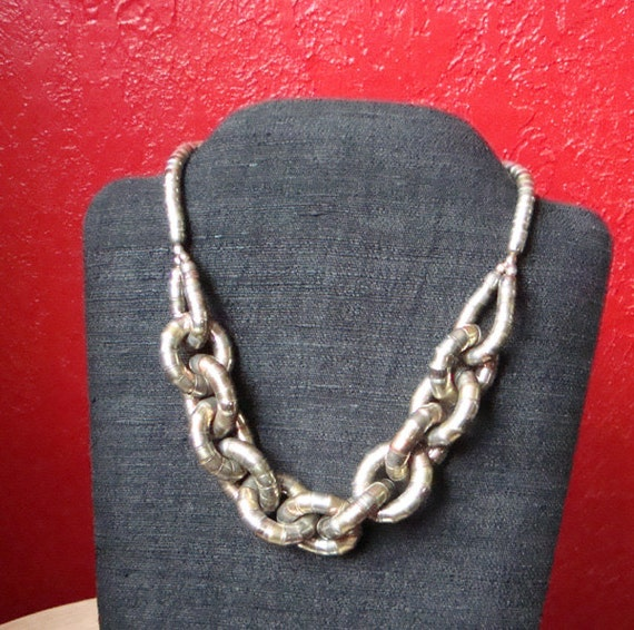 Vintage Industrial Metalwork Art Necklace . Metal Tubes as Chunky Chain Links