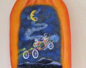 RESERVED for MARJORIE. Decorative tole painting: plaque featuring witches riding in an old fashioned buggy car billowing glitter