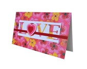 Greeting card Love Valentine's Day or any occasion Pink flowers and hearts Home Nursery Decor
