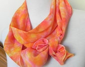 Hand Dyed Long Silk Scarf of Crepe de Chine in Peach, Nectarine, and Golden Yellow, Ready to Ship - RosyDaysScarves