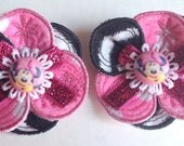 Minnie Mouse Shoe Clips - Minnie Mouse Zebra Print - Liliana Flower Shoe Clips in Minnie Mouse Zebra Print - Infant Toddler Girls Shoes