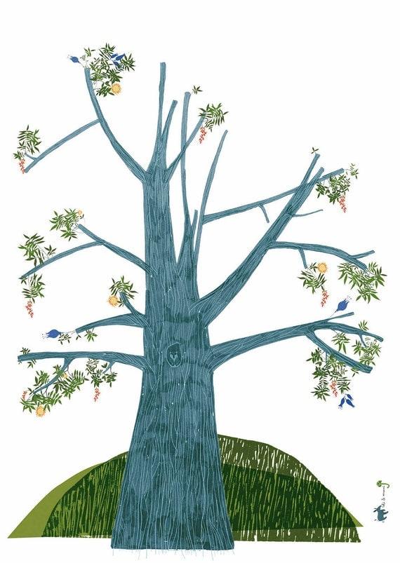 Summer Tree Poster, Wall Decor, Modern Art For Children, Creative