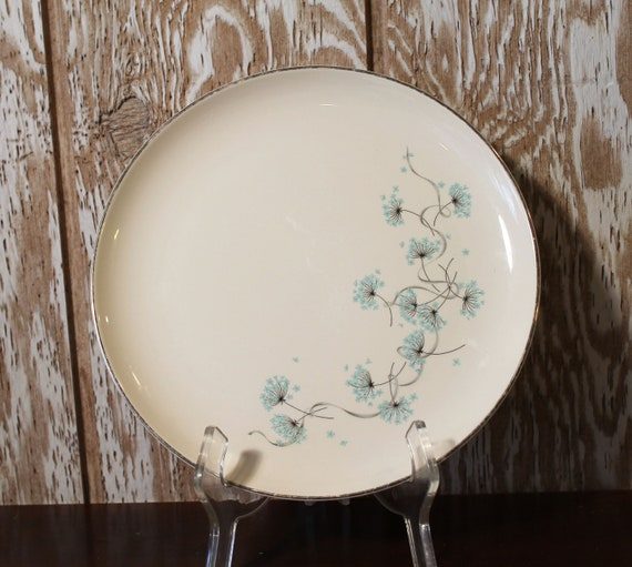Vintage Dinner Plate - Taylor Smith Taylor Ever Yours Aqua and Pink Boutonniere. A39