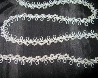 Braided Gimp Trim Cord Lace Blue Ribbon Trim Trim Vintage 2 1/2 yards upholstery trim
