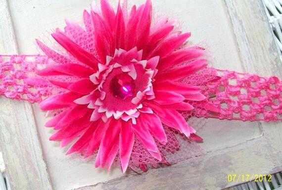 Hot Pink Flower Hair Clip with headband....Girls flower hair clip with headband...Infant toddler headband with flower clip....Photo Prop