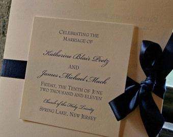 Elegant Square Wedding Programs with ribbon