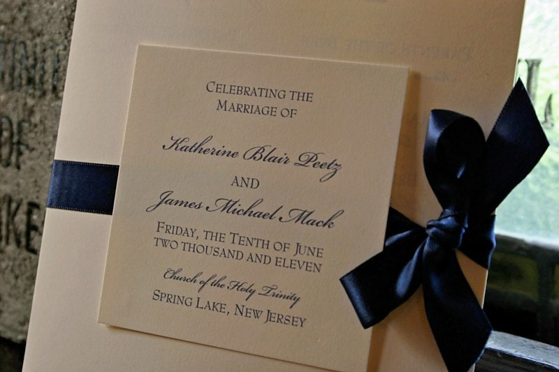 Elegant Square Wedding Programs with ribbon